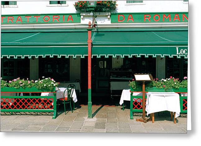 Shed Photographs Greeting Cards - Facade Of A Restaurant, Burano, Venice Greeting Card by Panoramic Images