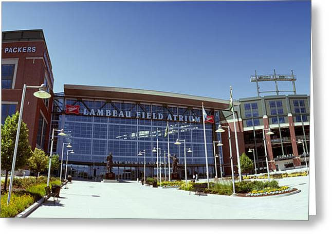 Lambeau Field Photographs Greeting Cards - Facade Of A Stadium, Lambeau Field Greeting Card by Panoramic Images