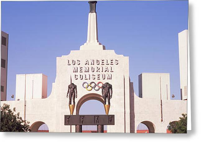 Facades Greeting Cards - Facade Of A Stadium, Los Angeles Greeting Card by Panoramic Images