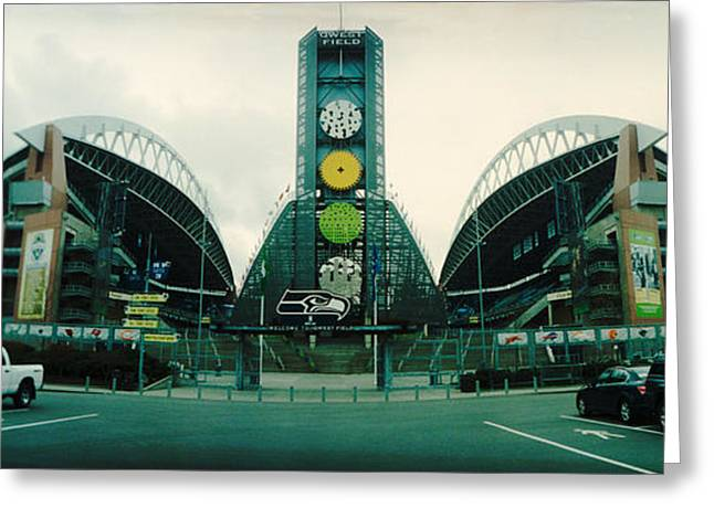 Stadium Design Greeting Cards - Facade Of A Stadium, Qwest Field Greeting Card by Panoramic Images