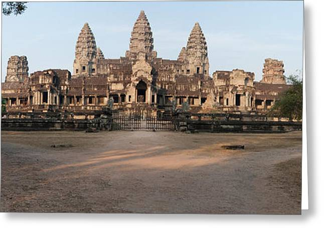 Civilization Greeting Cards - Facade Of A Temple, Angkor Wat, Angkor Greeting Card by Panoramic Images