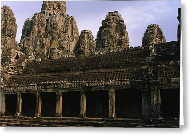 Siem Reap Greeting Cards - Facade Of An Old Temple, Angkor Wat Greeting Card by Panoramic Images
