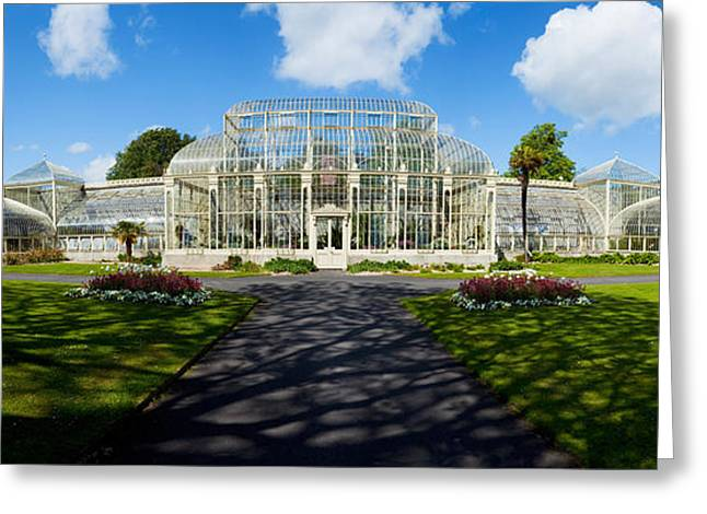 Curvilinear Greeting Cards - Facade Of Curvilinear Glass House Greeting Card by Panoramic Images