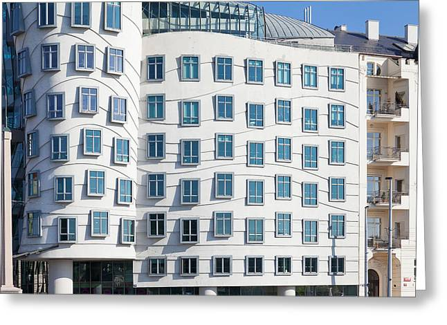 Art Nouveau Photographs Greeting Cards - Facade Of Dancing House Or Ginger Greeting Card by Panoramic Images