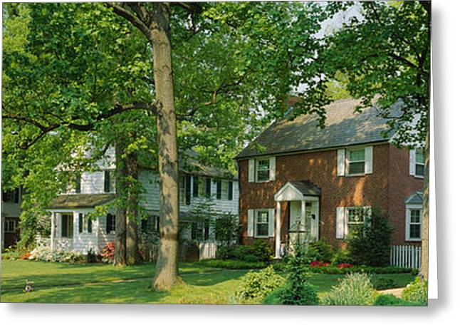 Spring Street Greeting Cards - Facade Of Houses, Broadmoor Ave Greeting Card by Panoramic Images