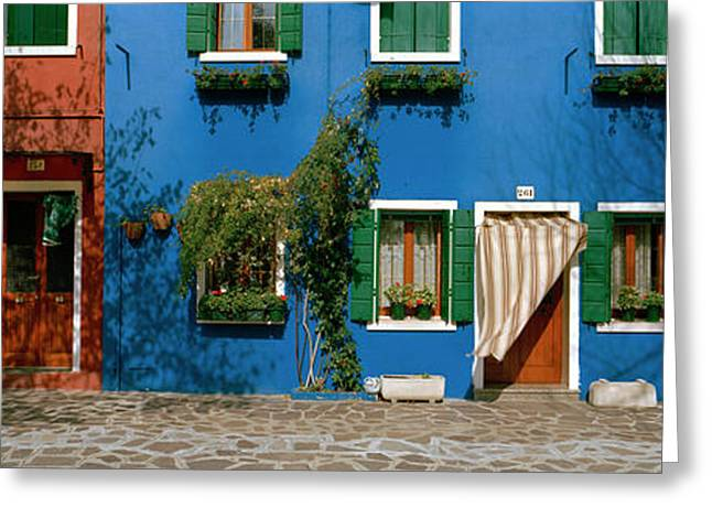 Residential Structure Greeting Cards - Facade Of Houses, Burano, Veneto, Italy Greeting Card by Panoramic Images