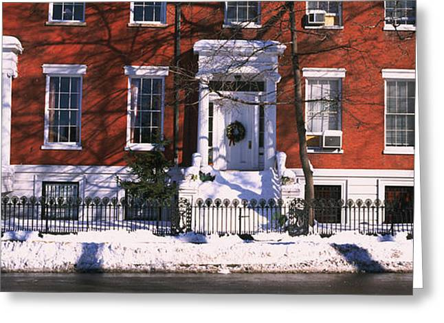 Bare Trees Greeting Cards - Facade Of Houses In The 1830s Federal Greeting Card by Panoramic Images