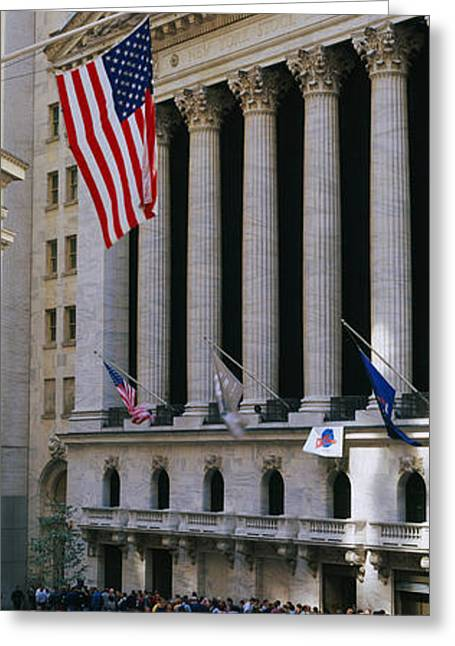 Facade Of New York Stock Exchange Greeting Card by Panoramic Images