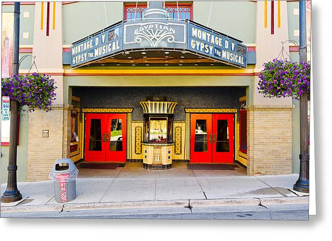 Entrance Door Greeting Cards - Facade Of The Egyptian Theater, Main Greeting Card by Panoramic Images