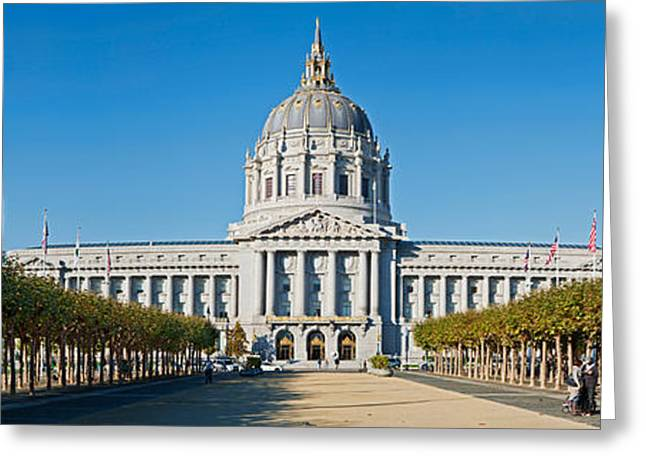 Treelined Greeting Cards - Facade Of The Historic City Hall Greeting Card by Panoramic Images
