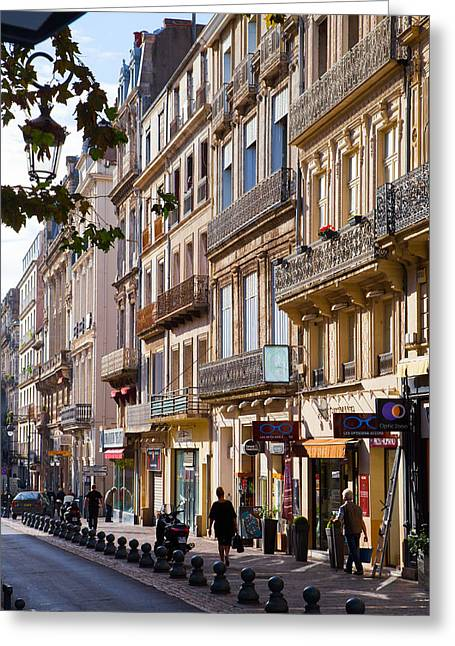 Languedoc Greeting Cards - Facades in Beziers Greeting Card by W Chris Fooshee