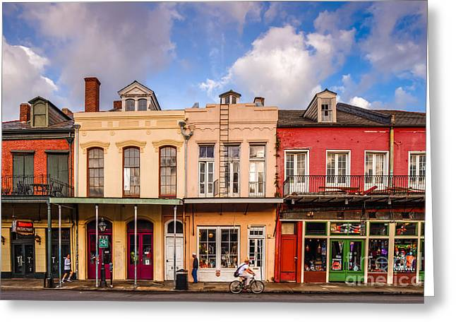 Mardis Greeting Cards - Facades of Houses in the French Quarter Vieux Carre - New Orleans Louisiana Greeting Card by Silvio Ligutti