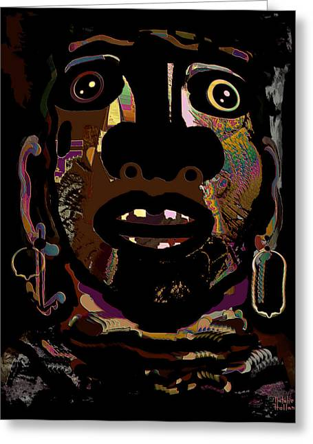 Gold Earrings Greeting Cards - Face 15 Greeting Card by Natalie Holland