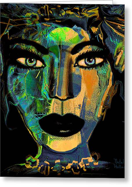 Gold Lime Green Greeting Cards - Face 16 Greeting Card by Natalie Holland