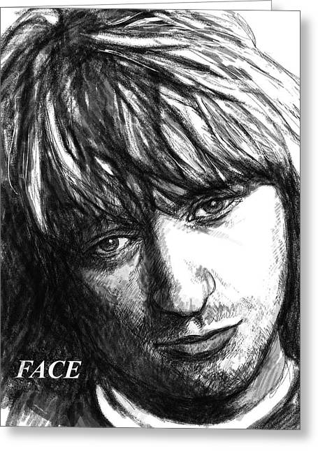 Pop Drawings Greeting Cards - Face art drawing sketch portrait Greeting Card by Kim Wang