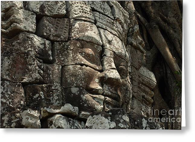Wat Angkor Greeting Cards - Face At Banyon Ankor Wat Cambodia Greeting Card by Bob Christopher