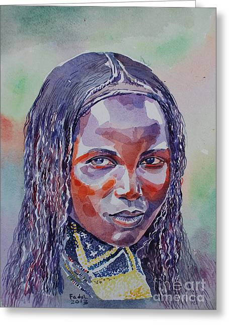 Mohamed Fadul Greeting Cards - Face from Sudan  1 Greeting Card by Mohamed Fadul