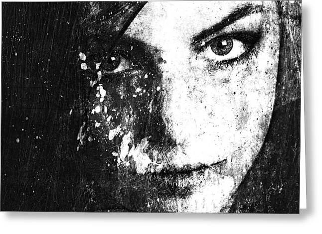 Oniric Greeting Cards - Face In A Dream grayscale Greeting Card by Marian Voicu