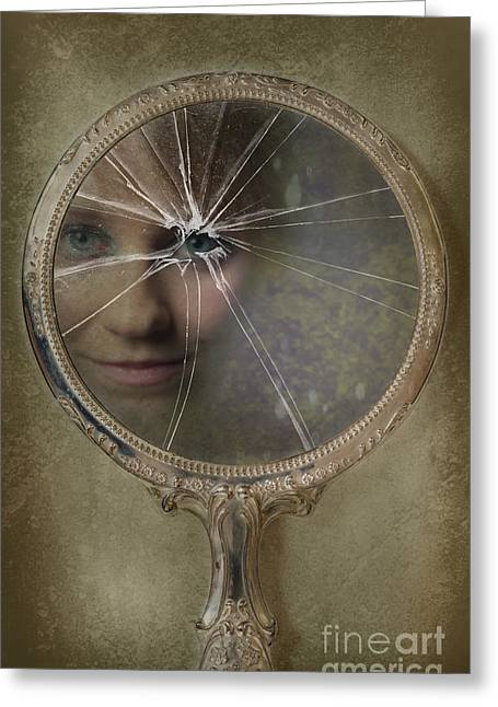 Shatters Greeting Cards - Face In Broken Mirror Greeting Card by Amanda And Christopher Elwell