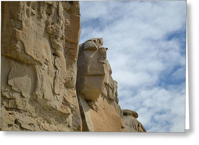 Designs On Face Greeting Cards - Face in Stone Greeting Card by Dwayne Schnell