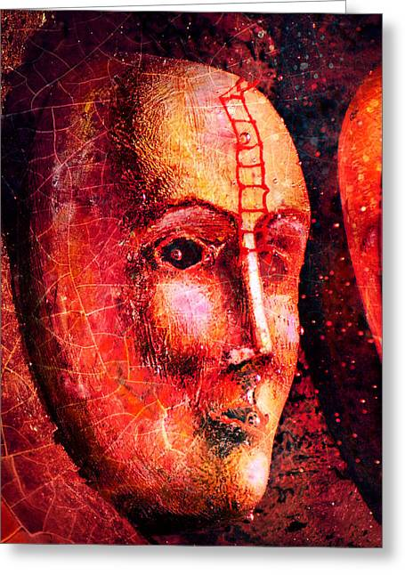 Treatment Mixed Media Greeting Cards - Face in the dark Greeting Card by Toppart Sweden
