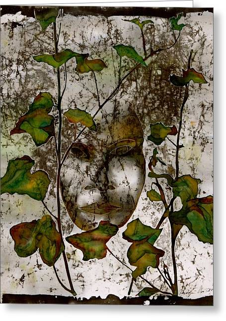 People Tapestries - Textiles Greeting Cards - Face in the Garden Greeting Card by Carolyn Doe