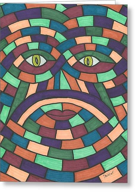 Susie Weber Greeting Cards - Face in the Maze Greeting Card by Susie Weber