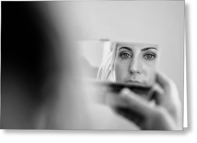 Pondering Greeting Cards - Face in the Mirror Greeting Card by Mountain Dreams