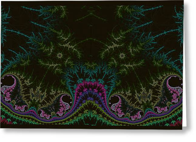 Geometric Digital Art Greeting Cards - Face In The Thistle Garden Greeting Card by Mother Nature