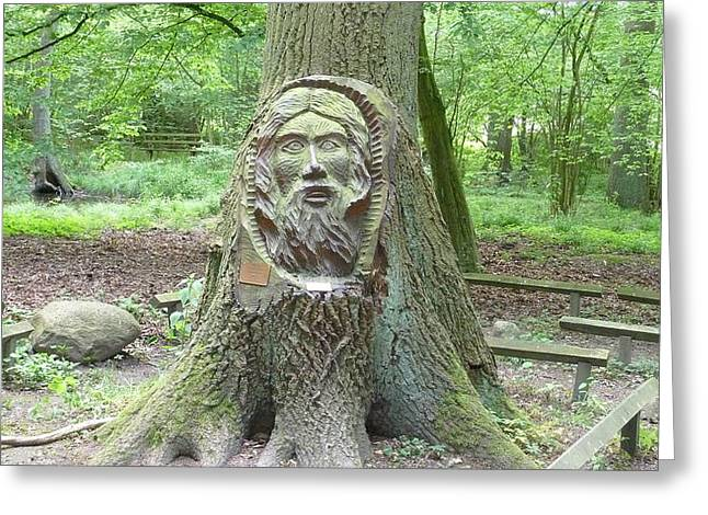 Wooden Sculpture Greeting Cards - Face in tree Greeting Card by FL collection