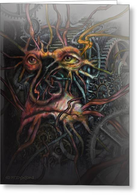 Tree Creature Greeting Cards - Face Machine Greeting Card by Frank Robert Dixon