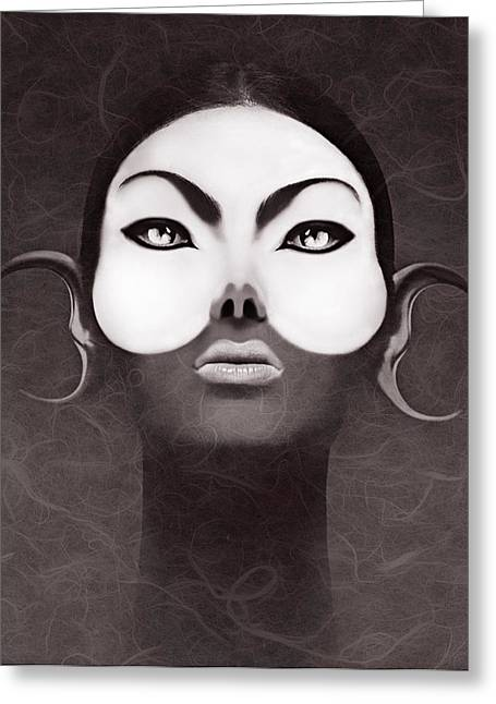 30-55 Years Old Greeting Cards - Face Moon Greeting Card by Yosi Cupano