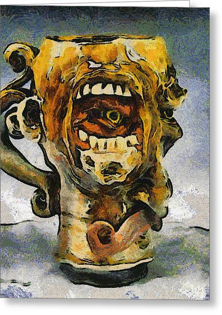 Dean Russo Art Paintings Greeting Cards - FACE MUG by FACE JUG  Greeting Card by Teara Na