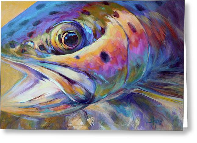 Fly Greeting Cards - Face of A Rainbow- Rainbow Trout Portrait Greeting Card by Mike Savlen