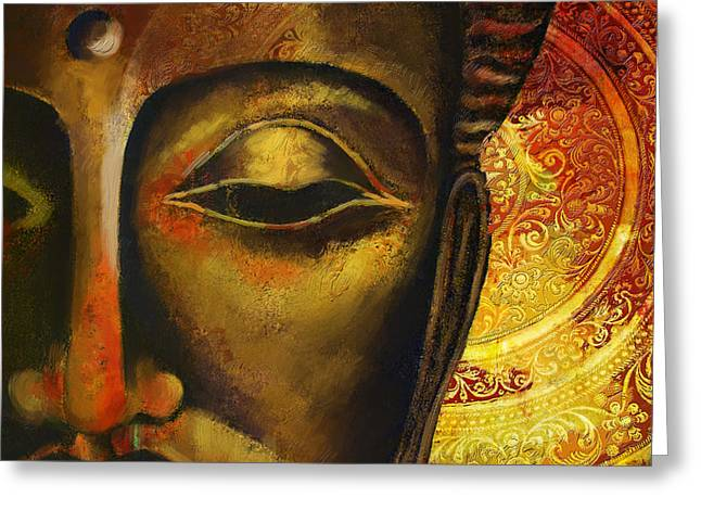 Buddhist Monks Greeting Cards - Face of Buddha  Greeting Card by Corporate Art Task Force