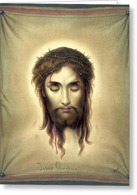 Antique Digital Art Greeting Cards - Face of Christ Greeting Card by Gary Grayson