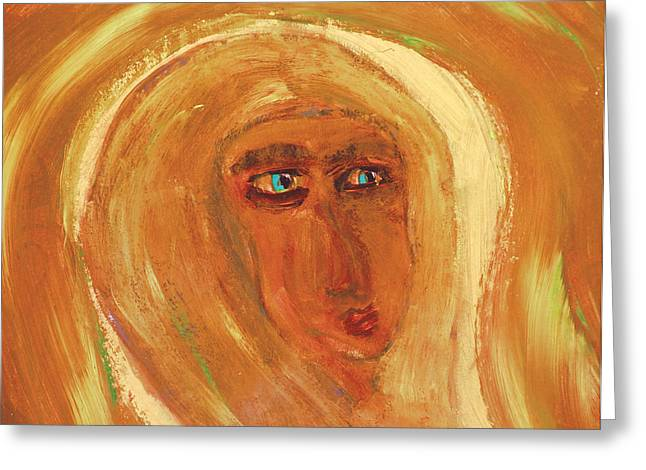 Wellspring Greeting Cards - Face Of Glowing Woman In Orange  Greeting Card by Krzysztof Spieczonek