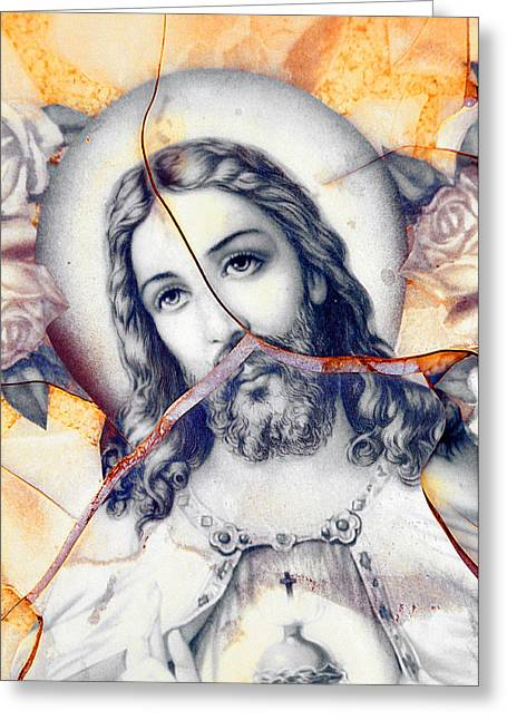 Saint Joseph Greeting Cards - Face of Jesus Saint Joseph Cemeteries Las Cruces New Mexico 2010 Greeting Card by John Hanou