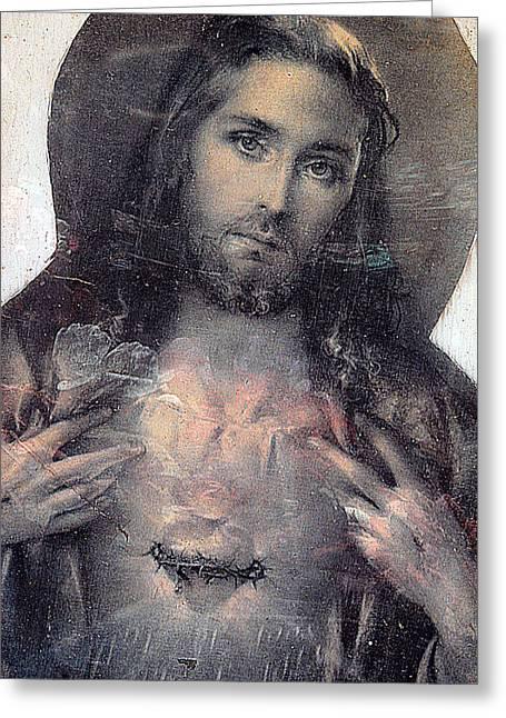 Sacred Photographs Greeting Cards - Face of Jesus San Jose de Armijo Cemetery Albuquerque New Mexico 2010 Greeting Card by John Hanou