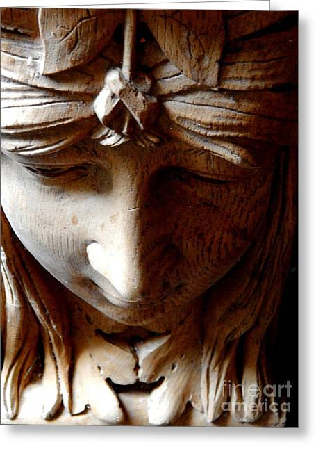 Wooden Sculpture Greeting Cards - Face Of Stone Grains #4 Greeting Card by Michael Hoard