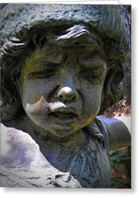 Garden Statuary Greeting Cards - Face Of The Forest Greeting Card by Frank Wilson