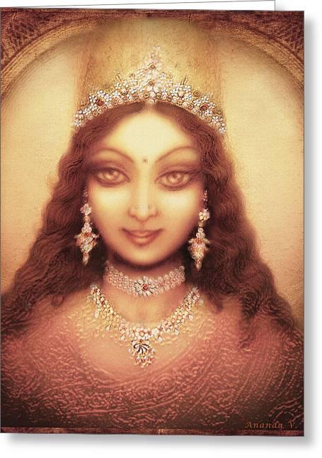 Goddess Durga Mixed Media Greeting Cards - Face of the Goddess Durga  Greeting Card by Ananda Vdovic