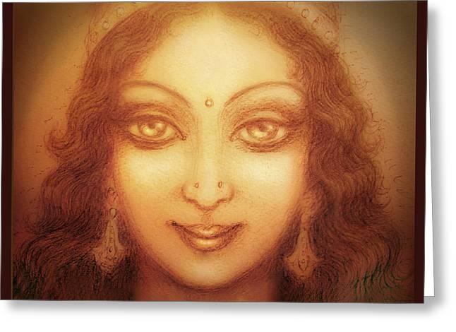 Face of the Goddess/ Durga Face Greeting Card by Ananda Vdovic