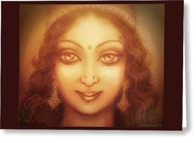 Blessing Greeting Cards - Face of the Goddess/ Durga Face Greeting Card by Ananda Vdovic