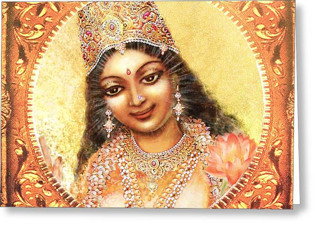 Hindu Goddess Greeting Cards - Face of the Goddess - Lalitha Devi  Greeting Card by Ananda Vdovic
