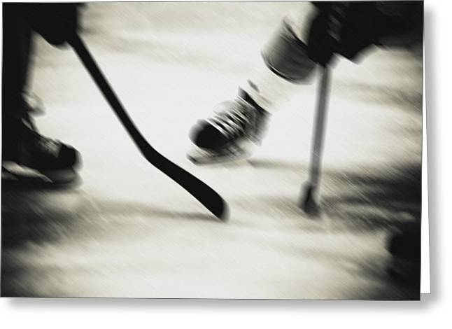 Sports Face Off Greeting Cards - Face Off Greeting Card by Alan Oliver