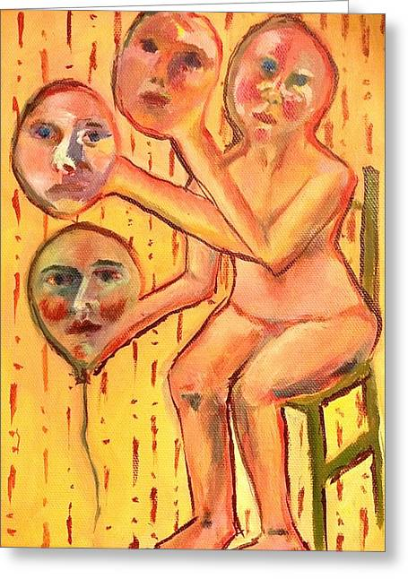 Multiple Identities Greeting Cards - Face Off Greeting Card by Rachel Elise