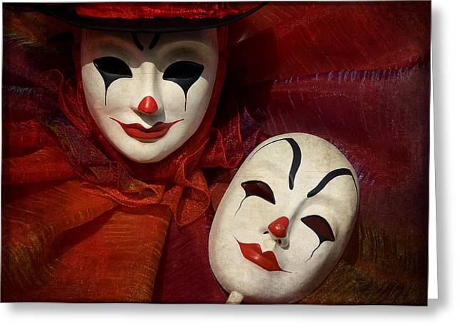 Portrait Of Evil Greeting Cards - Face off Greeting Card by Zina Zinchik