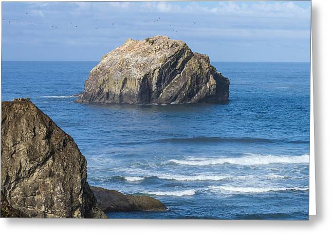 Beach Landscape Tapestries - Textiles Greeting Cards - Face Rock Landscape Greeting Card by Dennis Bucklin