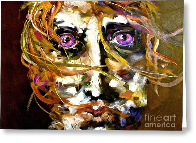 Michelle Dommer Greeting Cards - Face series 4 Knowing Greeting Card by Michelle Dommer